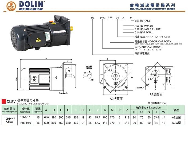 Giới thiệu kích thước động cơ mặt bích Dolin 7.5kW